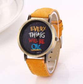 Horloge Everything Mosterd Geel