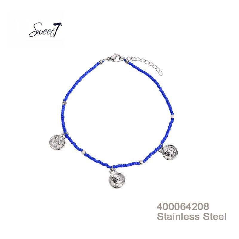 Enkelbandje Coins and beads Blauw RVS
