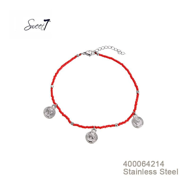 Enkelbandje Coins and beads Rood RVS