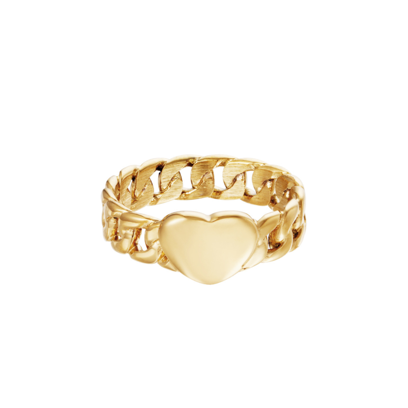 Ring Chainted Heart Goud RVS Maat 16
