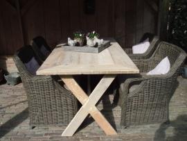 Steigerhouten tafel met kruispoten 190 x 90
