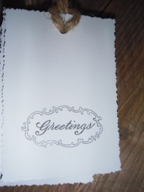 "Label ""Greetings"" wit  per 4 stuks"