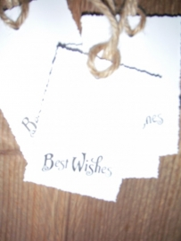 "Label ""Best Wishes"" per 4 stuks wit"