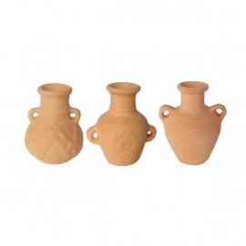p-tc16: 3 dlg kruikjes set (terracotta steen)