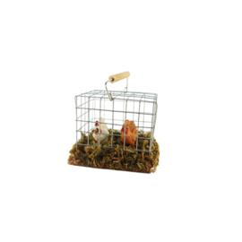 Dv201d: Vogelkooi met hengsel en 2 vogels