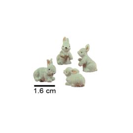Dd-06.1c Konijntjes 2 cm (set 4 stks)