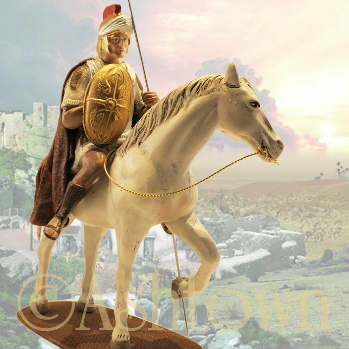 Z-TCbld-8.55w: Romeinse soldaat op wit paard