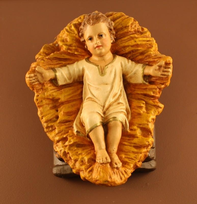 Krst-J25: Jezuskindje vast in kribbe, 12.5 cm