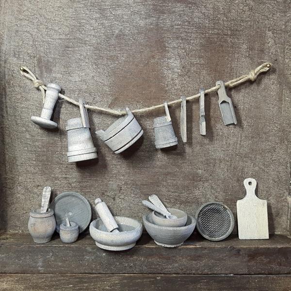 p-hs10.2: Landelijke keuken spullen (hout-20 dlg)