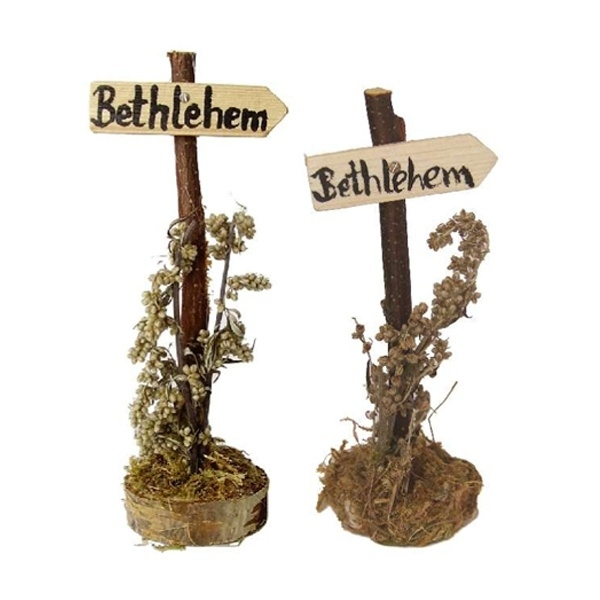 HBO-35 Wegwijzer Bethlehem met decoratie