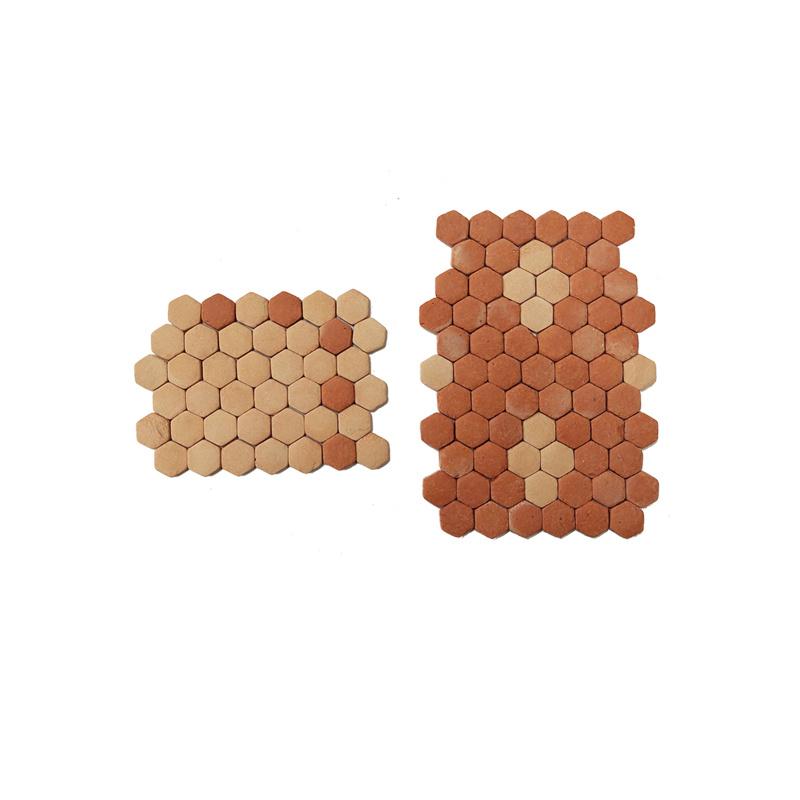 Bd-st01.83: Vloertegels Terracotta / zeskant