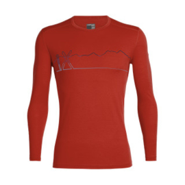Iebreaker Mens 200 Oasis LS Crewe Single Line Ski / CHILI RED - M-L-XL