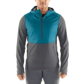 Icebreaker Mens Descender  Hybrid LS Half Zip Hood /	POSEIDON/Monsoon -Medium