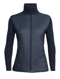 Icebreaker Womens Lumista Hybrid Sweater Jacket/Midnight Navy - Small