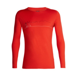 Icebreaker Mens 200 Oasis Deluxe Raglan LS Crewe Single Line Ski - Chili Red -M-XL