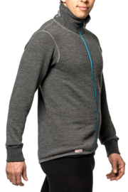 Woolpower Full Zip Jacket 400 Grijs/Turquoise - XXL