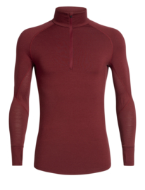 Icebreaker Mens 260 Zone LS Half Zip / Cabernet/CHILI RED- S-M-L