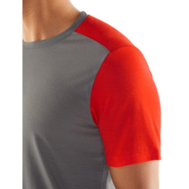 Icebreaker Mens Sphere SS Crewe / Timberwolf/Chili Red -M-L