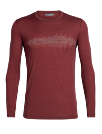 Icebreaker 	Mens Tech Lite LS Crewe Snow Waves / Cabernet - L-XL