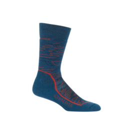Icebreaker Mens Hike + Medium Crew Lava PRUSSIAN BLUE/Midnight Navy/CHILI RED - Medium