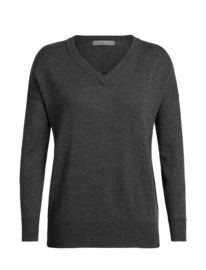 Icebreaker Women Shearer V Sweater / Char Hthr - Small