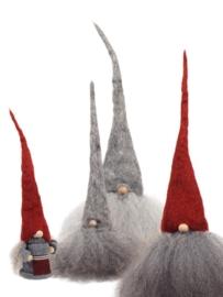 Tomte klein (25 cm) grijze muts/witte baard