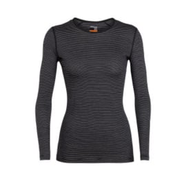 Icebreaker Wmns 200 Oasis LS Crewe  Black/Snow/Stripe - Medium