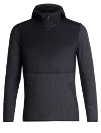 Icebreaker Mens Descender  Hybrid LS Half Zip Hood /	Black/Jet HTHR -Medium