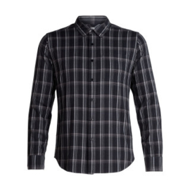 Icebreaker Mens Compass Flannel LS Shirt / Black/Monsoon/Plaid -M-L