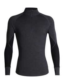 Icebreaker Mens 260 Zone LS Half Zip / Jet Heather / Black -M-XL