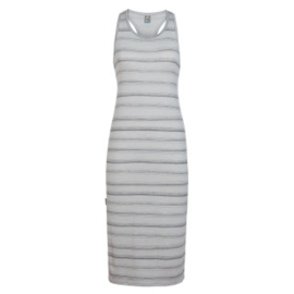 Icebreaker Wmns Yanni Tank Midi Dress / Lunar HTHR/Panther/Scratch Stripe -Small