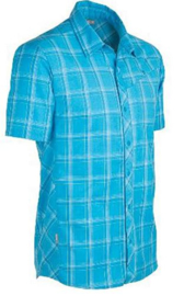 Icebreaker Mens Departure SS Shirt Aegean Plaid -Small