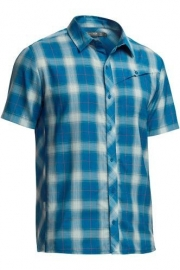 Icebreaker Mens Departure SS Shirt Plaid Petrol -Small
