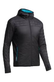 Icebreaker Mens Helix LS Zip Hood Carbon/Alpine -L-XL