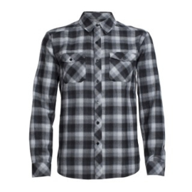 Icebreaker Mens Lodge LS Flannel Shirt /GrH/Black/Plaid -Small
