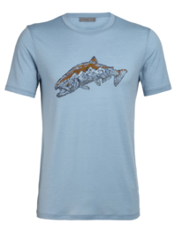 Icebreaker Mens Tech Lite SS Crewe Tetons Salmon / Waterfall -XL-XXL