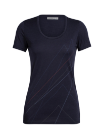 Icebreaker Wmns Tech Lite SS Scoop Pinnacles / Midnight Navy - Large