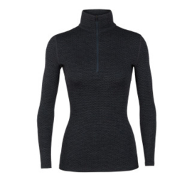 Icebreaker Wmns 250 Vertex LS Half Zip Mountain Dash Jet HTHR/Black -Large