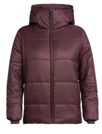 Icebreaker Womens Collingwood Hooded Jacket / Velvet/JetHthr - Small