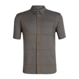 Icebreaker Mens Compass SS Shirt / Thunder/TIMBERWOLF/Tobacco/Plaid -M-L-XL