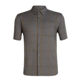 Icebreaker Mens Compass SS Shirt / Thunder/TIMBERWOLF/Tobacco/Plaid -M-L