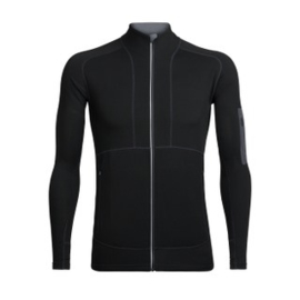Icebreaker Mens Tracer LS Zip / Black/Monsoon -Large
