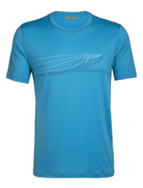 Icebreaker Mens Tech Lite SS Crewe Single line whale / Polar - Medium