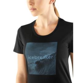 Icebreaker Wmns Tech Lite SS Low Crewe /Wavelogo /   Black - S-M-XL