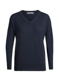 Icebreaker Women Shearer V Sweater / Midnight Navy - Small