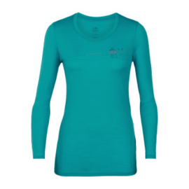 Icebreaker Wmns Tech Lite LS Low Crewe Skis in Snow / Arctic Teal -L-XL