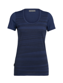 Icebreaker Wmns Tech Lite SS Scoop 1000 lines / Estate Blue - Large