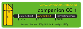 LOWLAND OUTDOOR® Companion CC 1 - 200x80 cm - 1725 gr - 0°C - Katoen
