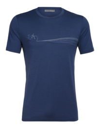 Icebreaker 	Mens Tech Lite SS Crewe Cadence Paths / Estate Blue - L-XXL