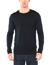 Icebreaker Mens Elements (Solace) LS Crewe / Black -Medium
